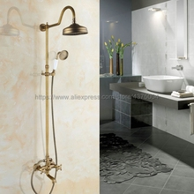 цена на Dual Handle Shower Faucet Antique Brass Wall Mounted Tub Mixer Tap Rainfall Shower Set Mixer Tap with Hand Shower Nan825