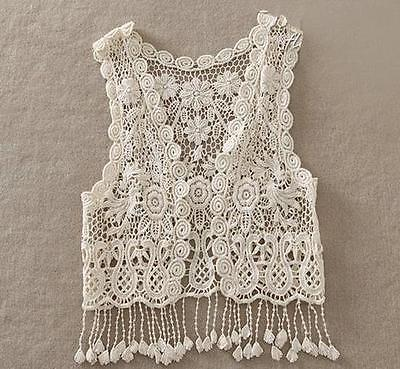 New Fashion Kid Baby Girl Crochet Lace Hollow Shirts Top Tassel Sleeveless Tops  2016