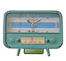 Metalowy zegar Retro nostalgiczne Radio żelaza biurko metalowe zegary termometr wyświetlacz zegar sypialnia badania biuro antyczne zegar dekoracyjny tanie tanio QUARTZ Igła Plac Zegary biurkowe