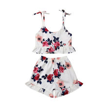 2pcs Toddler Kid Baby Girl Clothes Floral Ruffle Sling Tops