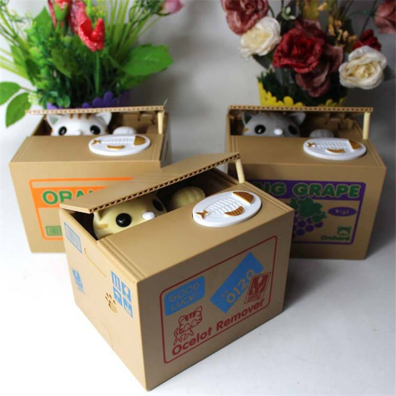 Cute Automatic Money Stealing Cat Coins Piggy Bank Saving Box Gift In Money Boxes From Home