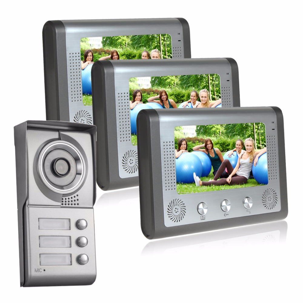 Apartment video intercom wired doorbell two-way intercom door phone system 1 doorbell camera 3 buttons for 3 apartments