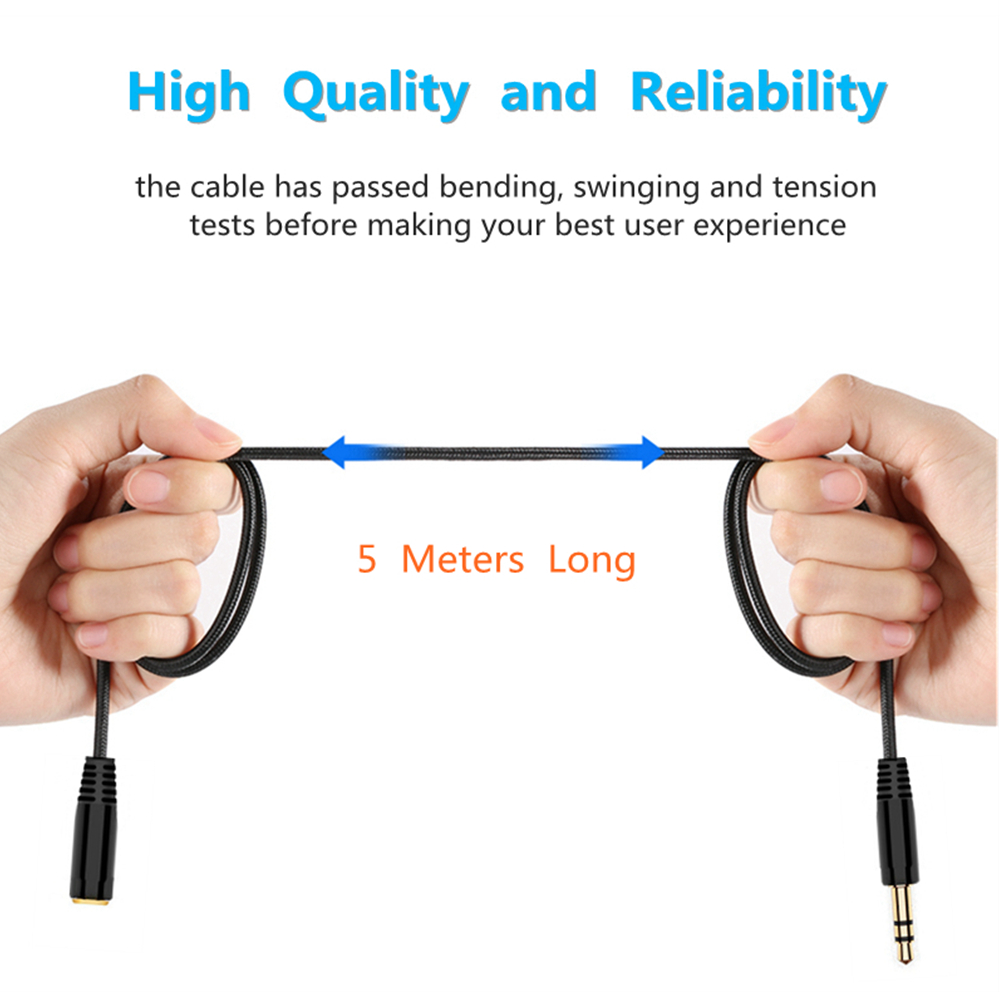 Image 2 - 5m 16Ft Headphone Extension Cable 3.5mm Jack Male to Female AUX Cable M/F Audio Stereo Extender Cord Earphone 3.5 mm Cloth Cable