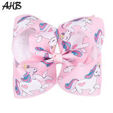 AHB 5'' Cute Unicorn Hair Bows for Girls Cartoon Print Grosgrain Ribbon Bowknot Hairgrips Hairpins Kids Party Hair Accessories цена в Москве и Питере