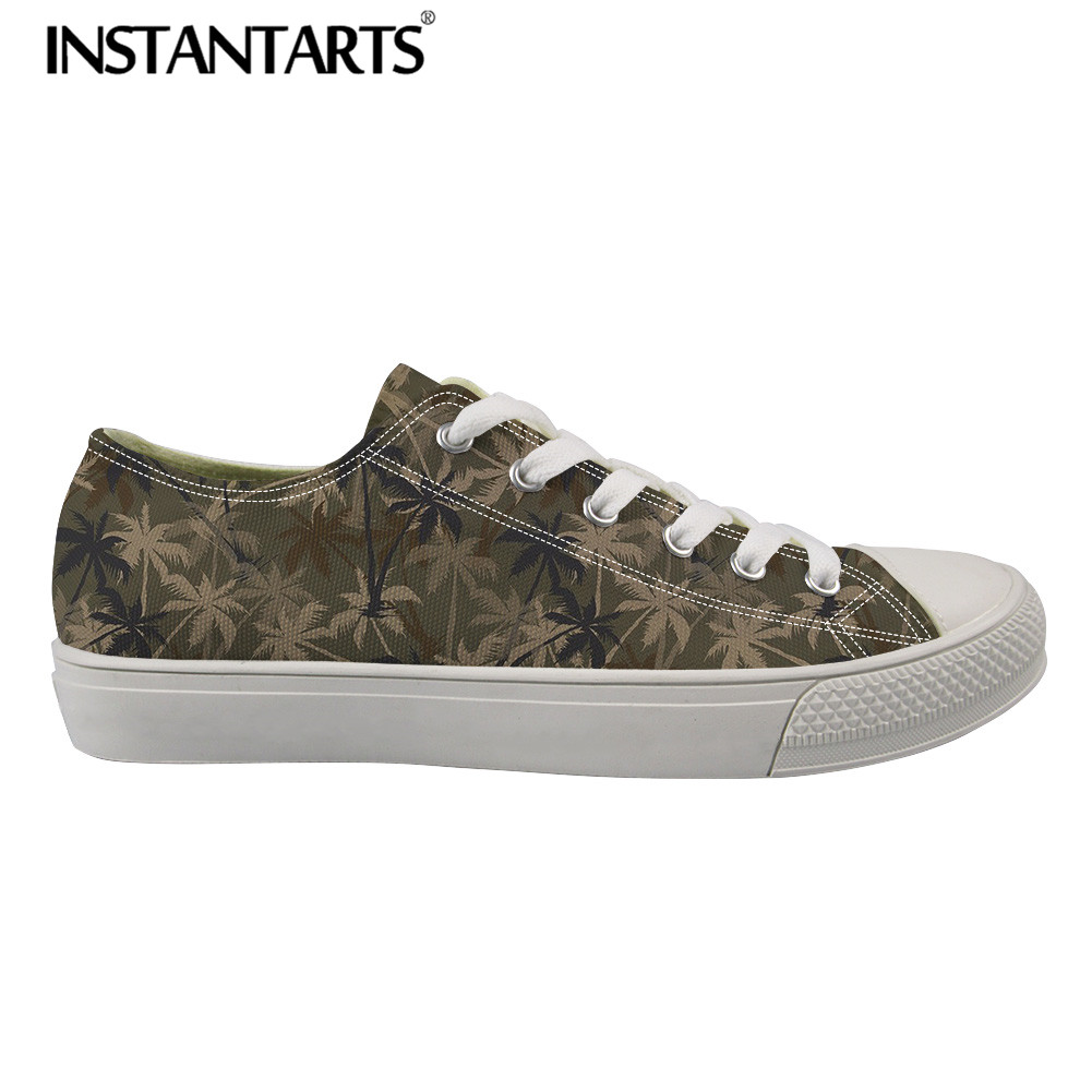 INSTANTARTS Men s Vulcanize Shoes Spring Man Flat Canvas Sneakers 3D Print Palm Tree Camouflage Low