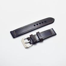 KZfashion handmade Watch Band Genuine Leather straps 24mm man watch accessories men High QualityblackWatchband