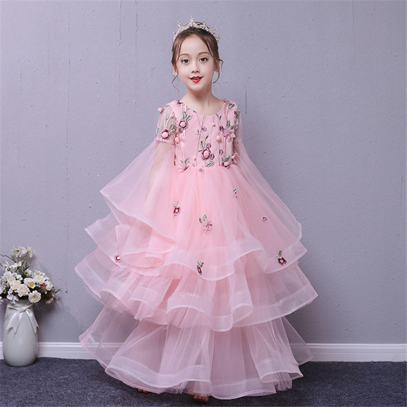 2018 Autumn Luxury Children Kids Birthday Evening Party Princess Long Dress Teens Girls Piano Host Pageant Model Show Prom Dress high quality 2018 girls dress children princess dress fluffy yarn girls show caterpillar evening dress birthday host piano