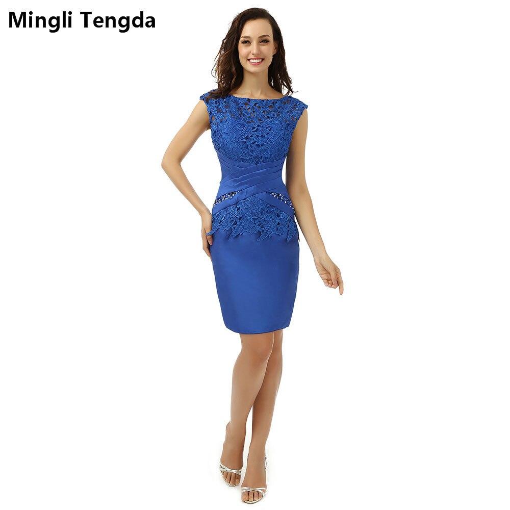 Robes De mère sur mesure 2017 nouvelle robe De mère en dentelle bleue Mini robe De mère plissée perlée De Madrinha Mingli Tengda