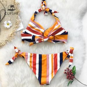 Image 2 - Cupshe Navy En Oranje Gestreepte Twist Halter Bikini Sets Vrouwen Sexy Thong Twee Stukken Badpakken 2020 Meisje Strand Badpakken