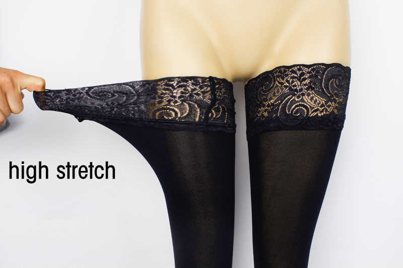 ef6fa4a9053 ... Sexy Fashion Ladies Women Lace Top Stay Up Thigh High Stockings 120D  Silicone non-slip ...