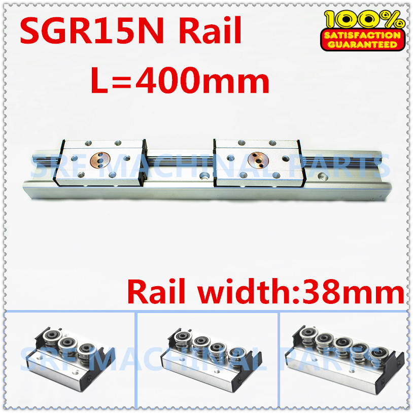 1pcs Silver aluminum Double axis roller linear guide SGR15N L=400mm +1pcs SGB15N block  linear guide rail for CNC part 100% new original 25mm precision linear guide rail 1pcs trh25 l 200mm 1pcs trh25b square linear block for cnc