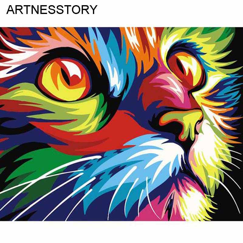 ARTNESSTORY Unframed DIY Oil Painting By Numbers Animal Colorful Cat Canvas Painting for Living Room Wall Art Home Dector 11136