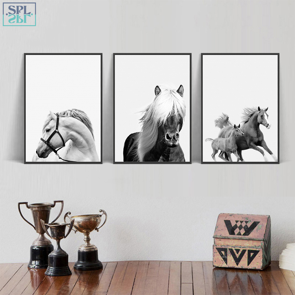 SPLSPL Nordic Wall Art Black And White Animal Poster Print Horse Picture On Canva Scandinavian Painting Modular Picture No Frame