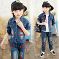 Denim Set For Girls Children Clothing For Teen Girls Lips Girl Clothes Set Autumn Stuff For The Girls Outfits Coat And Pants