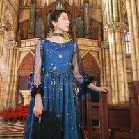 Большой Винтаж Синий Вышивка кружево платье для женщин с длинным рукавом Slash средства ухода за кожей шеи Мода Femme сетки бальное пла