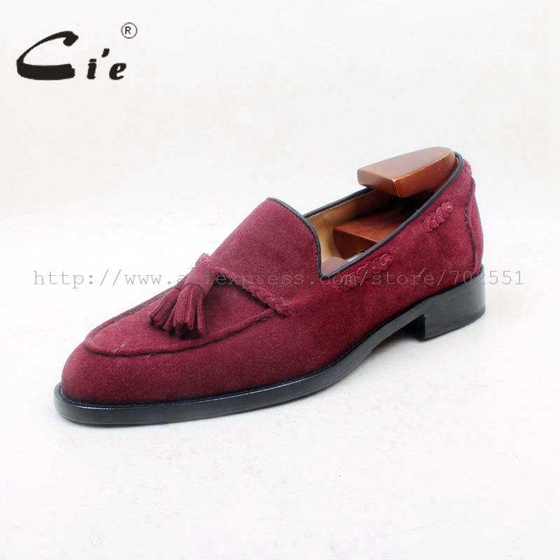 cie Round Toe 100% Genuine Leather Outsole Bespoke Adhesive Craft Handmade Wine Suede  Tassels Slip-on Men's Shoe No.loafer 160