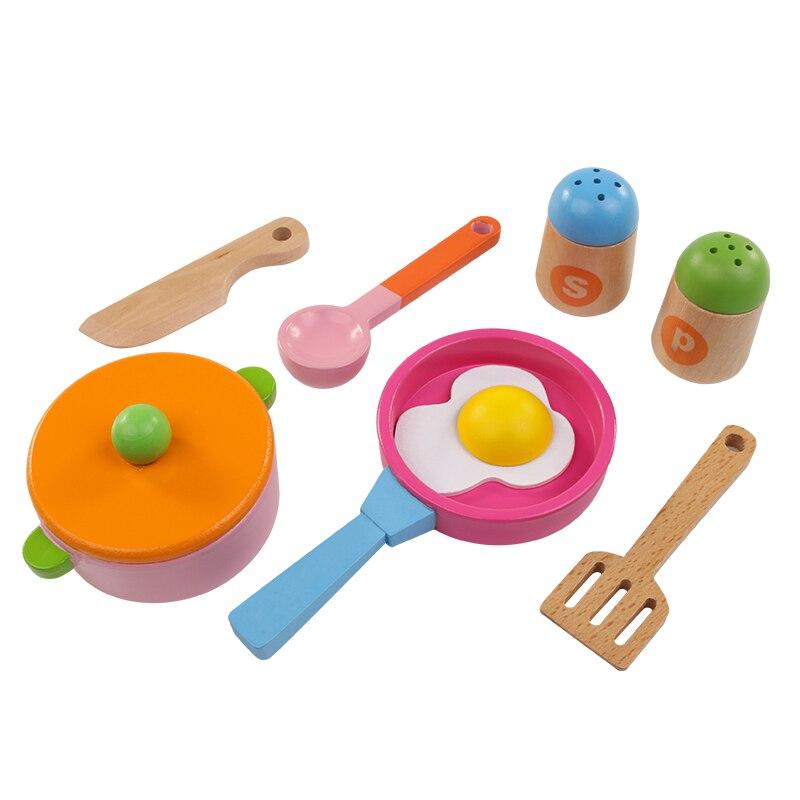8 шт., деревянные кухонные игрушки, набор для детей, пищевые игрушки для фруктов и овощей, подарок для детей, игрушки для девочек