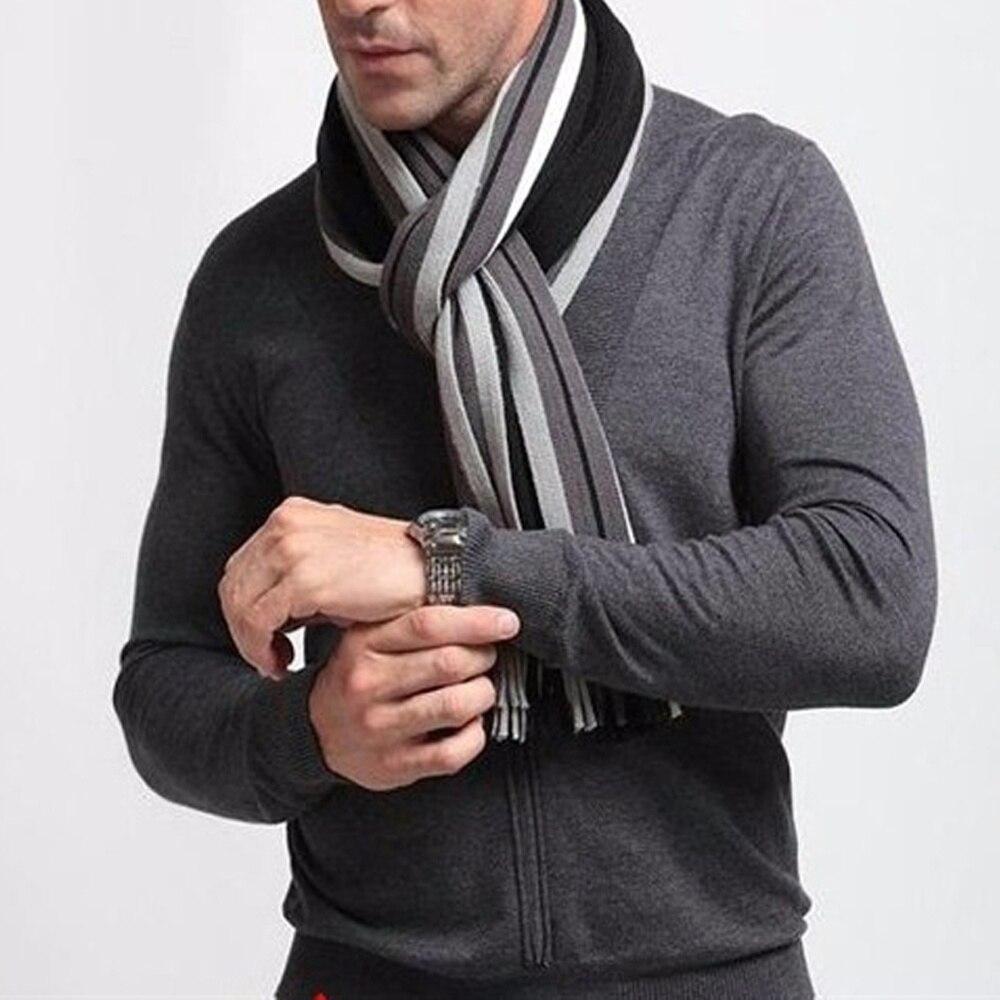 1 Pcs Mode Foulard Herbst Designer Wrap Herren Business Schal Winter Gestreiften Schals Kleidung Zubehör Heißer Verkauf