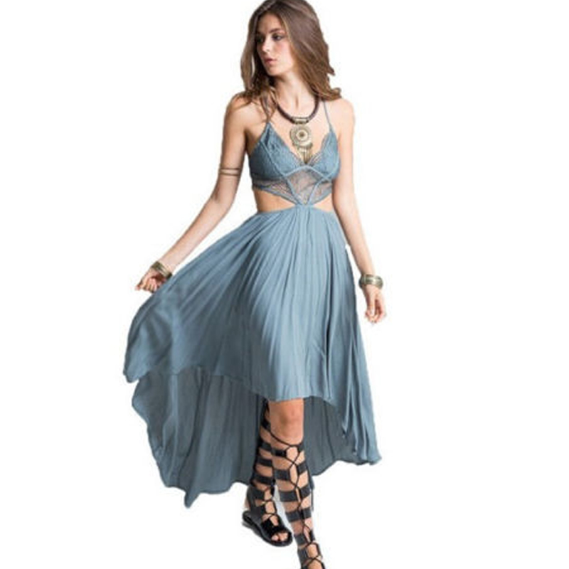 Woman Deep V Neck Floral Lace Bodice Cut Out High Low Maxi Long Dress 2017 New Beach Poplin Bohemian Dresses
