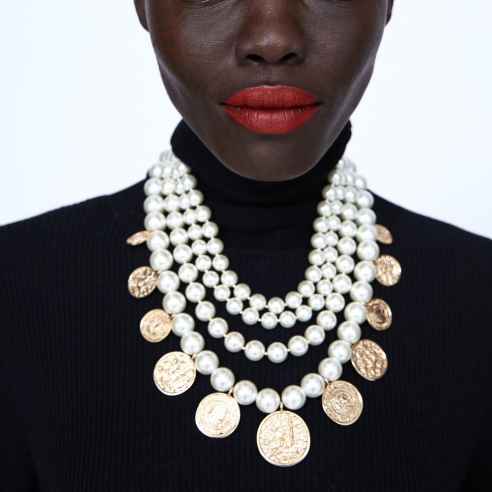 купить Girlgo New Design ZA Simulated Pearl And Coins Necklace For Women Luxury Maxi Choker Necklace Christamas Gift Elegant Jewelry по цене 982.3 рублей