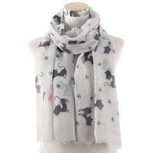 Winfox Animal Print Soft Long Scarfs Shawls For Women Ladies Kawaii Cat Paw Fish Scarf Grey Pink Female Stole