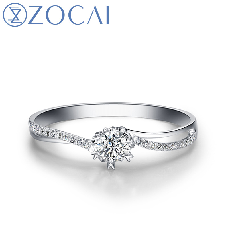 ZOCAI 0.15ct Weding Ring Certified Genuine Real Diamond Engagement Ring 18K White Gold Diamond Ring W00121 kcchstar 18k crystal ring with artificial diamond golden purple