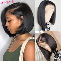 Short Straight Bob Wigs For Women Brazilian Lace Front Human Hair Wigs 13x4 Bob Lace Front Wig Pre Plucked With Baby Hair Alot
