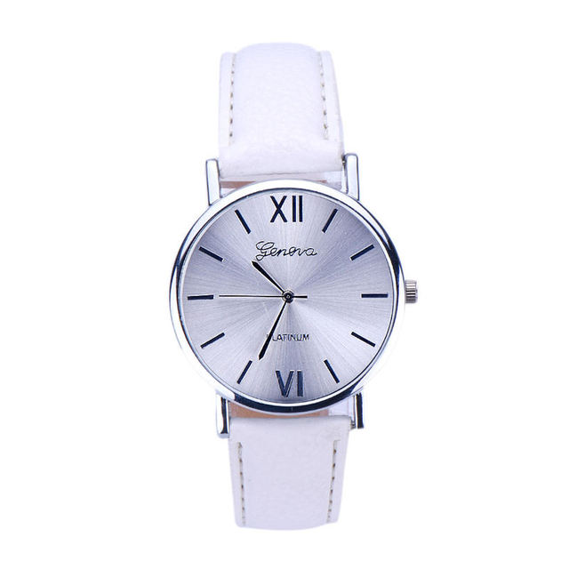 Fashion erkek saat Geneva Simple Style Quartz Watch Women Girl Leather Band Wris