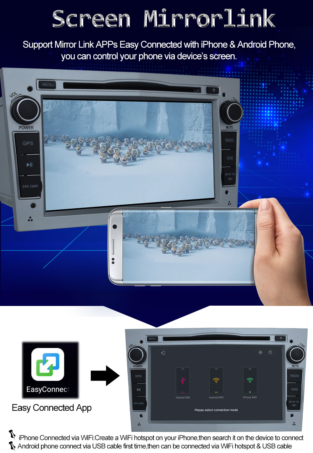 1024*600 Octa Core Android 8.0 Car DVD Player For Vauxhall Holden ...