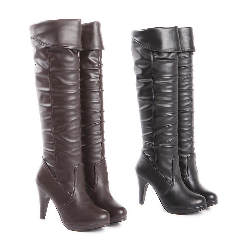 ARMOIRE Fashion Sexy Black Brown Super High Heels Women Knee High Boots Ladies Shoes A98-1 Plus Big Size 4 12  33 48 brand new fashion black yellow women knee high cowboy motorcycle boots ladies shoes high heels a 16 zip plus big size 32 43 10