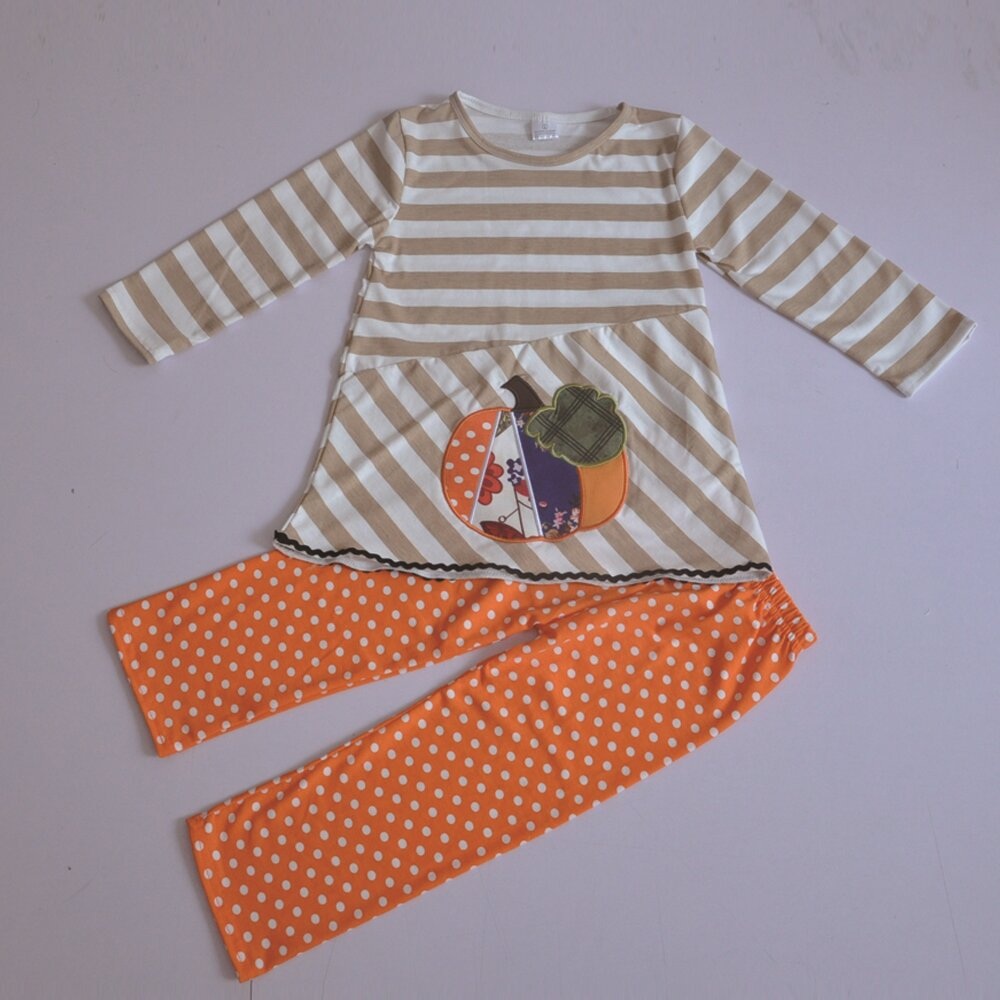 Factory Directly Selling Halloween Costume Pumpkin Pattern Chevron Sleeve Tops Orange Pants Toddler Girl Clothes Sets H029
