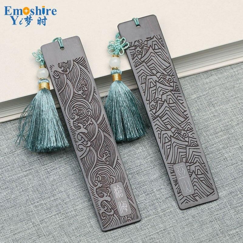 Retro Red Wood Bookmarks Ebony Chinese Romanti Creative Graduation Gift Wooden Bookmarks Custom M027
