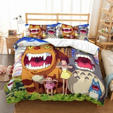 Cartoon Totoro Bedding Set 3PCS Japanese Anime Theme Duvet Cover with 2 Pillowcase Microfiber Kid Bed Linen Home Textile