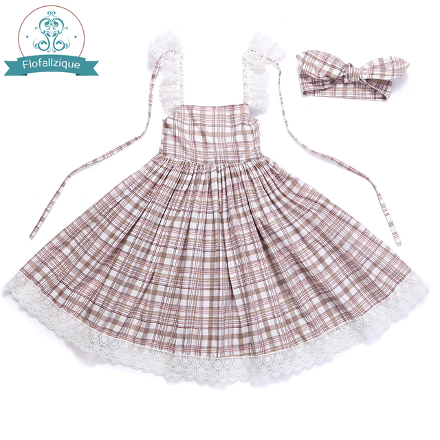 Baby Girls Dress with Cute Headband 2017 Summer Fashion Plaid&Stripe Cotton Print Backless For Girls Princess Toddler Dresses