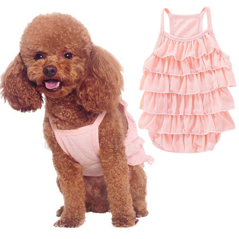 Cotton Chiffon <font><b>Dog</b></font> Summer Clothes <font><b>Dress</b></font> Sweety Light Red Princess <font><b>Dress</b></font> Wedding <font><b>Dresses</b></font> For <font><b>Dog</b></font> Pet Accessories M/L/XL/<font><b>XXL</b></font> New image