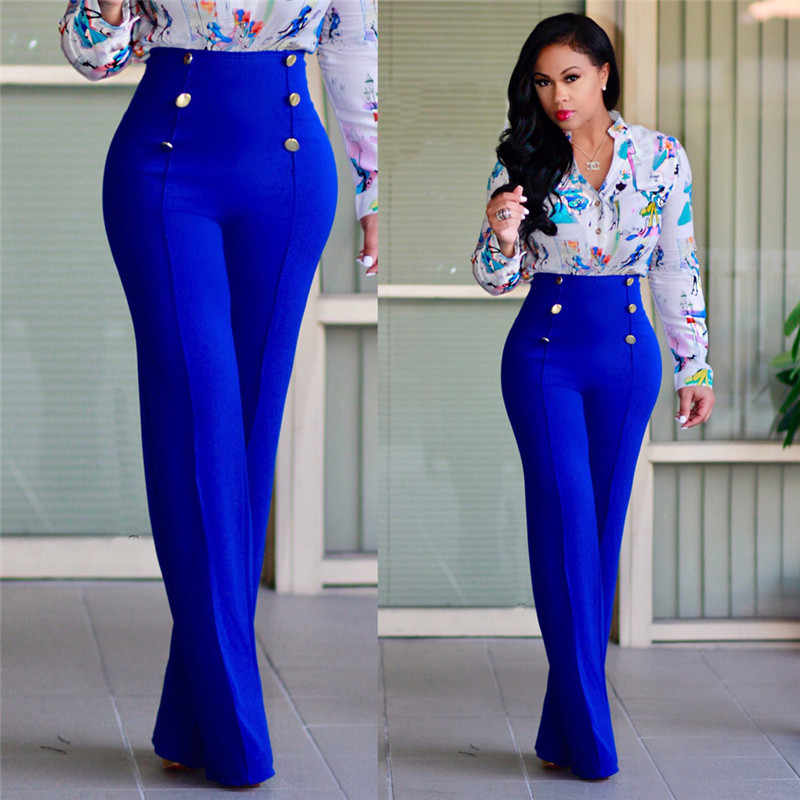 Farbige Mode Frauen Frühling Sommer Partei Mitte Taille Slim Fit Solide Stretchy Bell-Bottom Flare Hose Weit Bein Palazzo Hosen