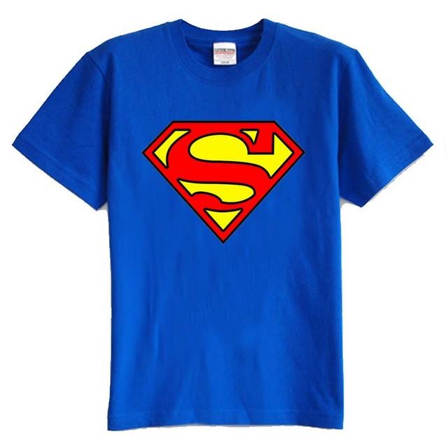 Crianças T shirt do verão de manga curta 100% algodão menino e menina camiseta superman dos desenhos animados muitos cor