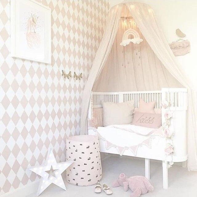 Baumwolle Und Leinen Kinder Infant Jungen Mdchen Prinzessin Baldachin Bett  Volant Baby Bett Runde Moskitonetz Spielen Zelt Dekoration.
