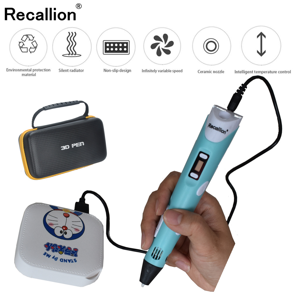 RECALLION 3D pen support ABS and PLA filament diy drawing pen with lcd display printing pen with 5V 2A adapter For Kids Gifts(China)