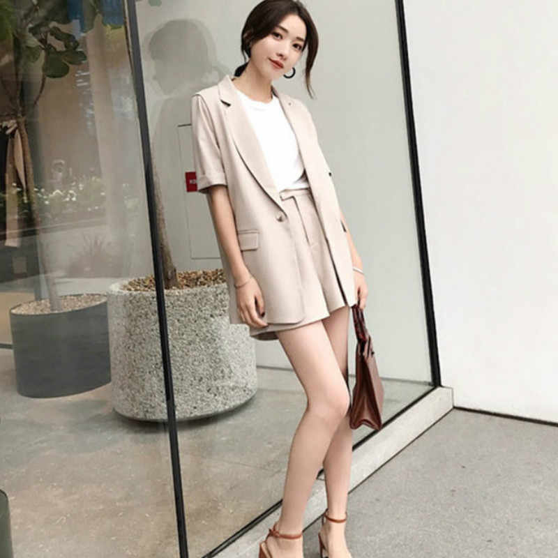 4edd4e28b3 Suit female 2019 summer new women's Korean fashion casual solid color short-sleeved  lapel small