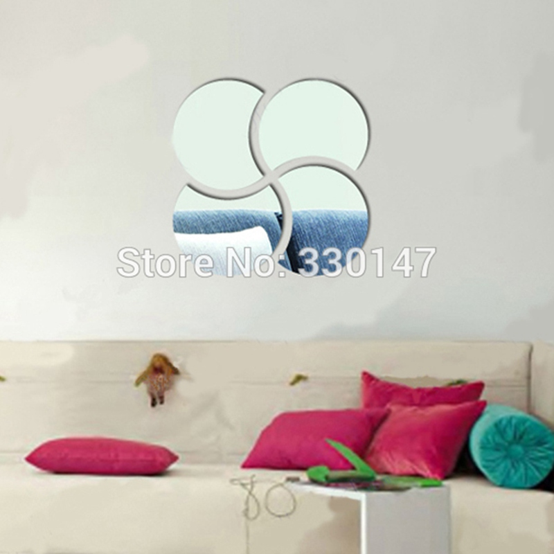 2015 New 3D Windmill Circle Acrylic Wall Sticker Big Decals Puzzle Home Decor Bell Cool Mirrors Free Shipping Direct Selling