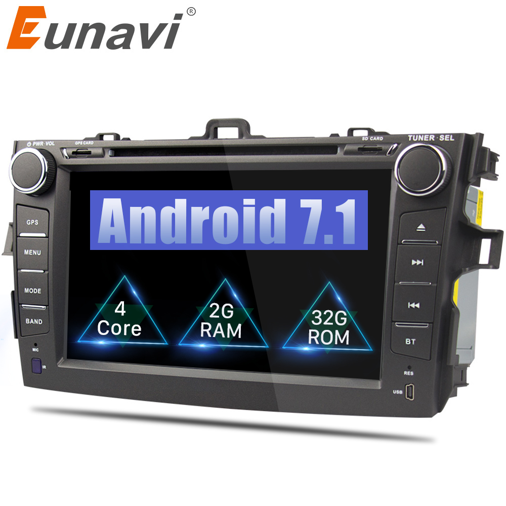 Eunavi 8 inch 2 din Android 7.1 car dvd player gps for Toyota Corolla 2007 2008 2009 2010 2011 1024*600 car stereo radio klyde 8 2 din android 8 1 8 core car radio for toyota rav4 2013 2015 1024 600 car audio player