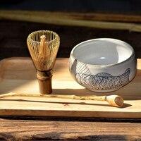 Handmade Matcha Bowl Whisk Scoop Set Traditional Japanese Matcha Tea Ceremony Teaset Fish Chawan Tea House Gift Decoration