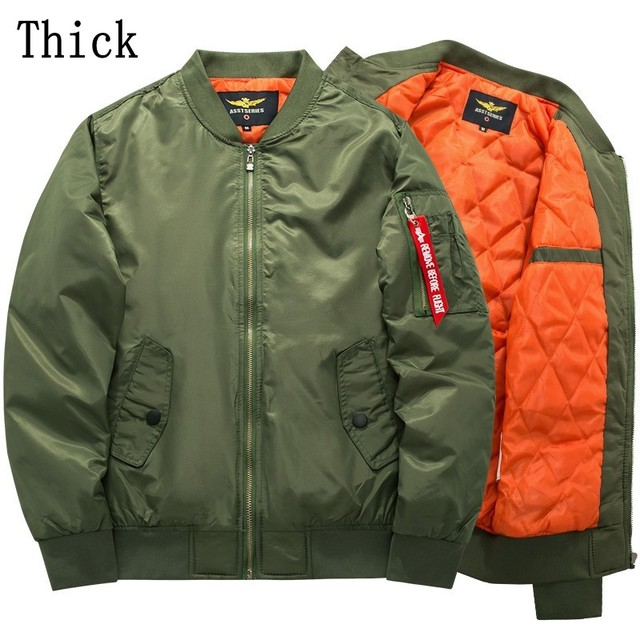 Ma1 Bomber fashion thick Jacket 2017 nylon Tour Pilot Outerwear Men Army Green chinese made Autumn winter wear  5xl Jacket