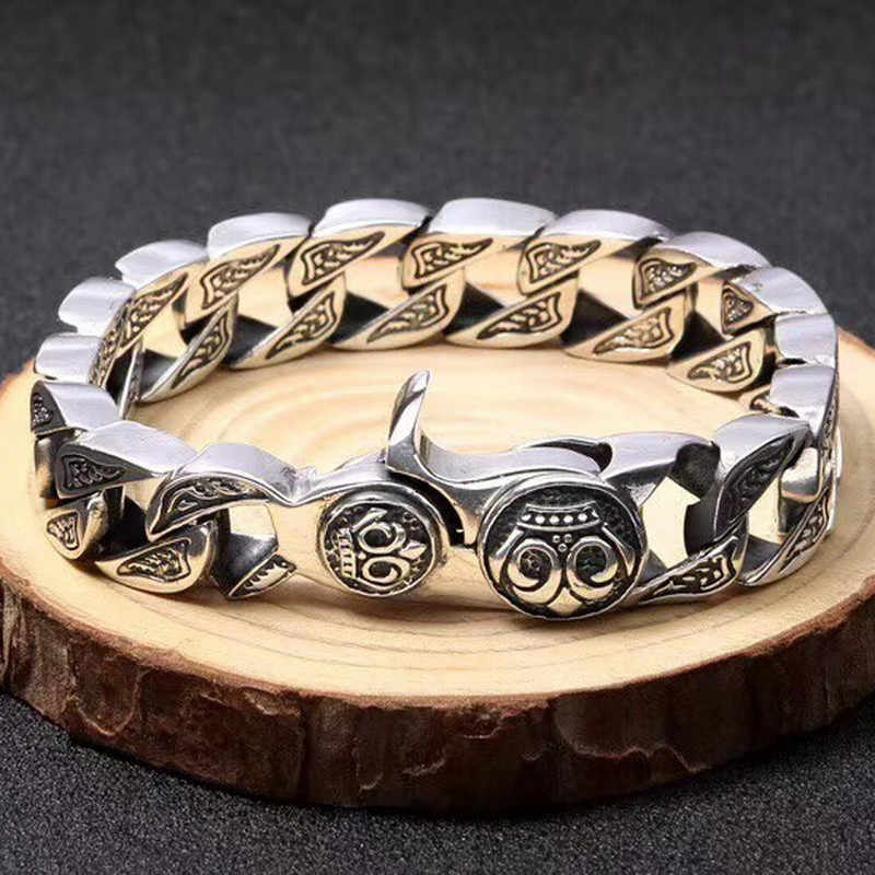 c38933c3d8b Heavy Solid Silver 925 Link Bracelet For Men 100% Real Sterling Silver 925  Chunky Chain