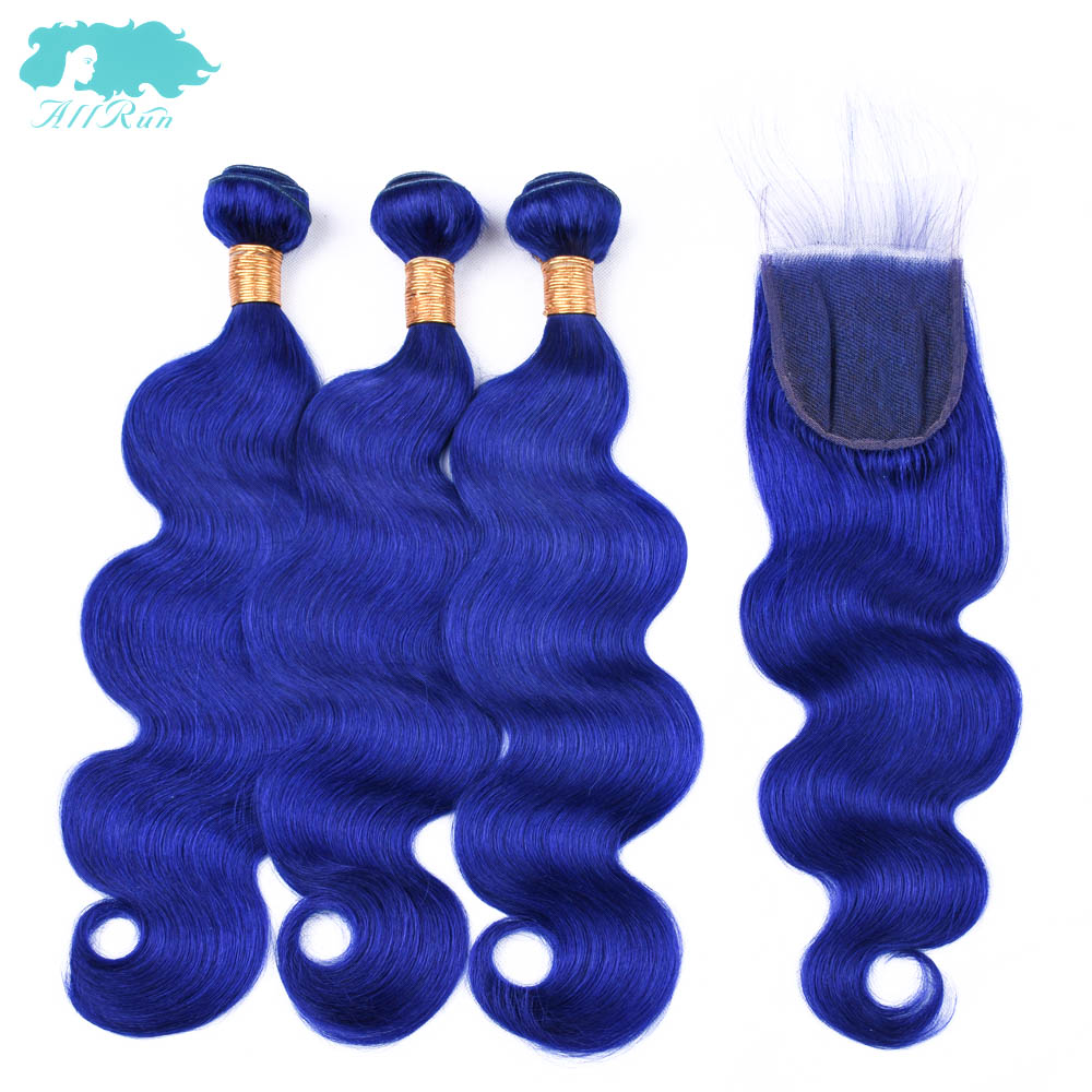 Allrun Human Hair Bundles With Lace Closure Malaysia Body Wave Hair 3 Bundles With Closure Blue Color Non-Remy Hair Extension