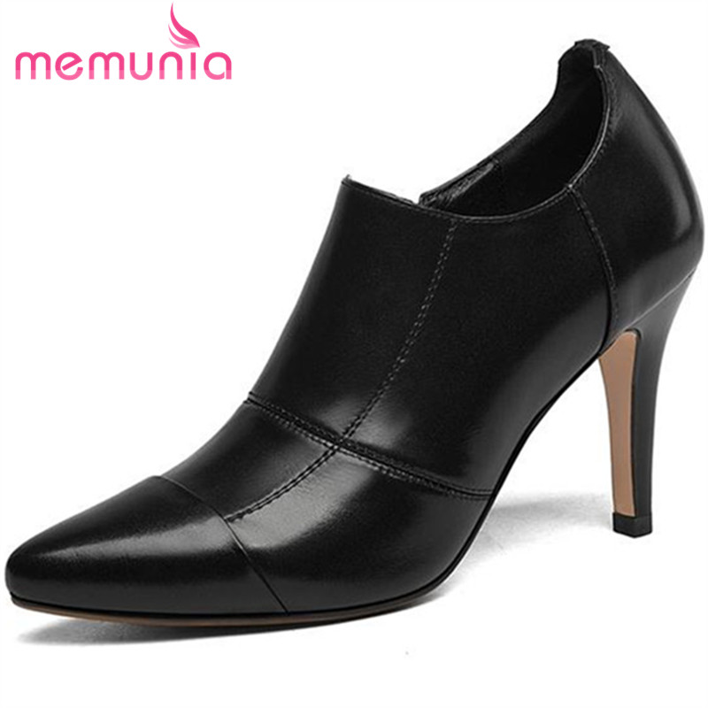 MEMUNIA Pointed toe single shoes women cow leather zipper solid work shoes mature contracted pumps top quality high heels shoes цена 2017