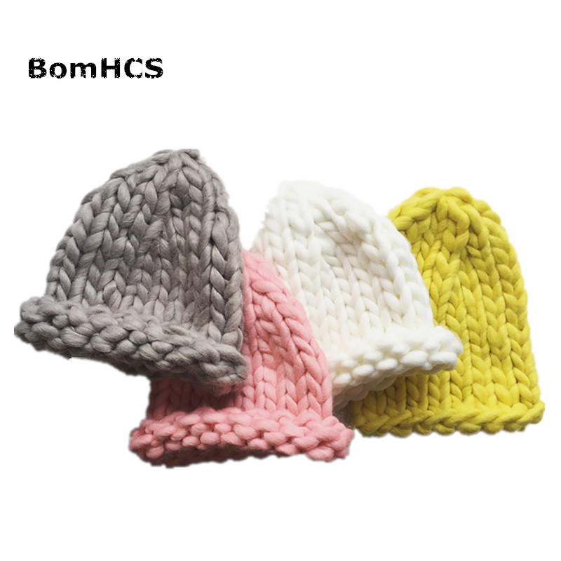 BomHCS Simple Solid Color Coarse Yarn Beanie Baby's Winter Warm Handmade Knitted Hat for Kids Ages 3-10 недорого