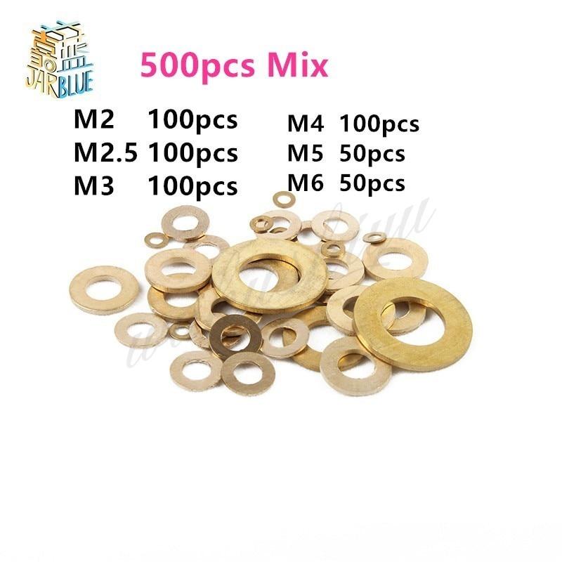 50Pcs or 500pcs Mix DIN125 ISO7089 M2 M2.5 M3 M4 M5 M6 M8 Meson Pad Sheet Metal Collar Brass Flat Washer 500pcs set din125 iso7089 m2 m2 5 m3 m4 m5 m6 m8 meson pad sheet metal collar brass flat washer hw049