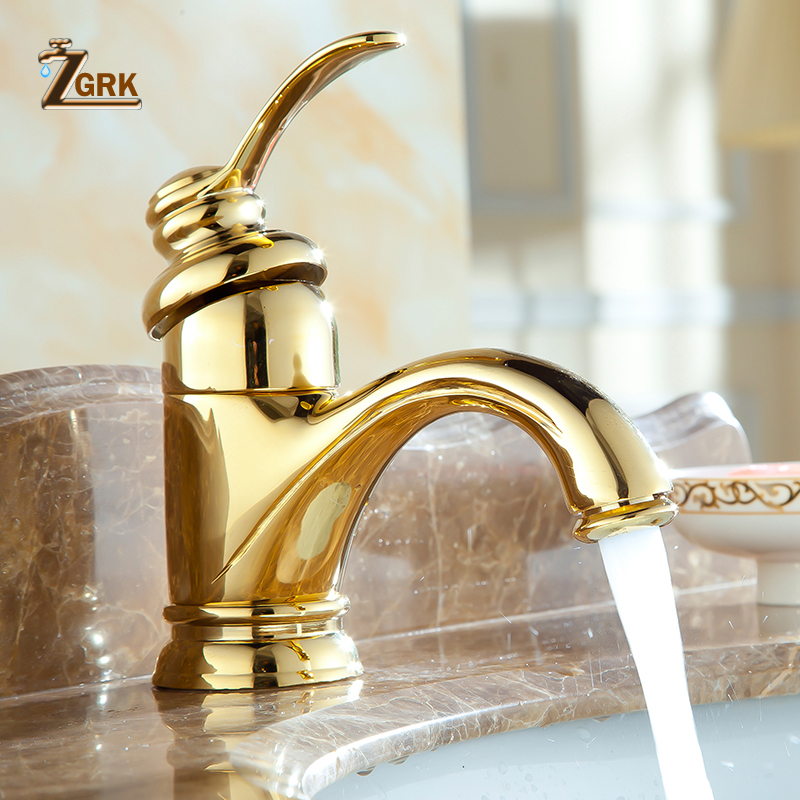 ZGRK Deck Mounted Antique Brass Single Hole Gold Plated Faucet Bathroom cabinet faucet Basin Mixer Tap becola free shipping gold plated faucet deck mounted bathroom brass faucet single handle basin tap hy 803